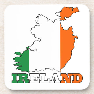 Flag in Map of Ireland Beverage Coasters