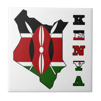 Flag in Map of Kenya Tiles