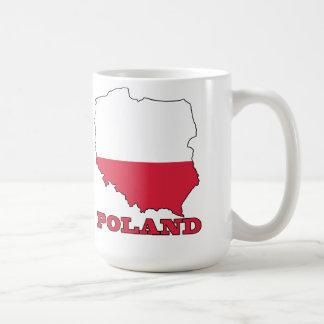 Flag in Map of Poland Coffee Mug