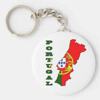 Flag in Map of Portugal Basic Round Button Keychain