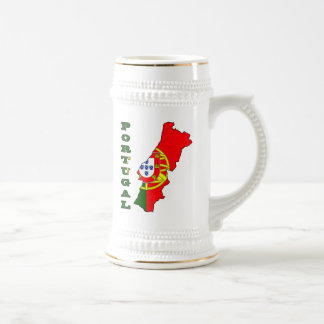 Flag in Map of Portugal Beer Stein