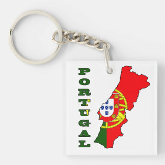 Flag in Map of Portugal Double-Sided Square Acrylic Keychain
