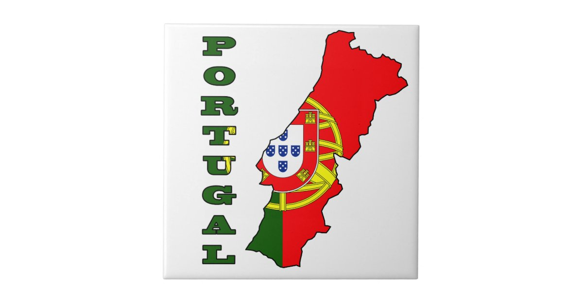 Flag In Map Of Portugal Tile Zazzlecom - Portugal map flag