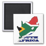 Flag in Map of South Africa Fridge Magnets