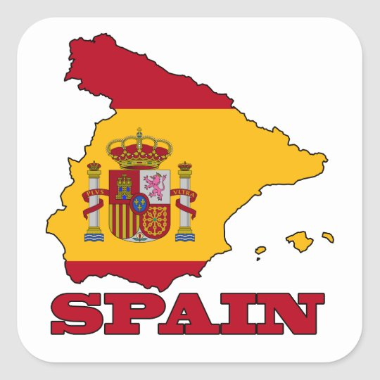 Flag in Map of Spain Square Sticker
