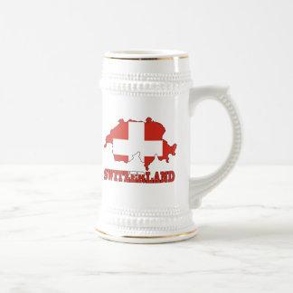 Flag in Map of Switzerland Beer Stein