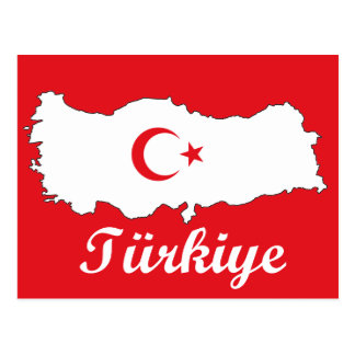 Flag in Map of Turkey Inverse Postcard