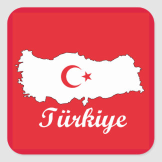 Flag in Map of Turkey Inverse Square Sticker