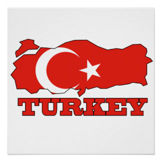 Flag in Map of Turkey Poster