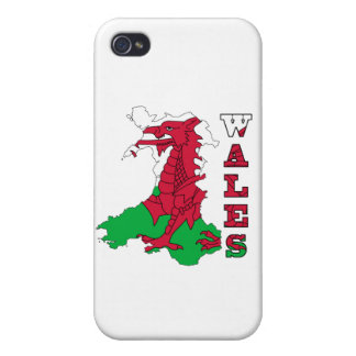 Flag in Map of Wales iPhone 4 Case