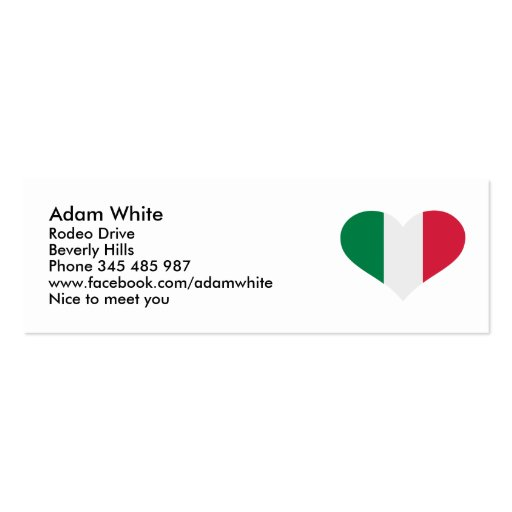 Flag italy business cards