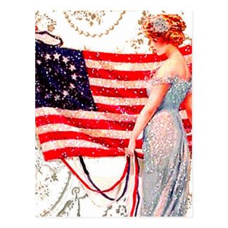 Flag Lady 4th July Patriotic Vintage Postcard Art