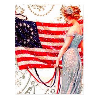 Flag Lady 4th July Patriotic Vintage Postcard Art