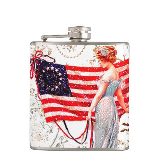 Flag Lady 4th of July Patriotic Hip Flask