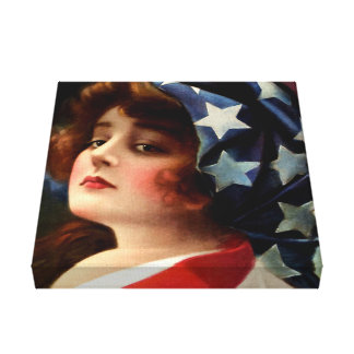 Flag Lady 4th of July Vintage Patriotic Art Gallery Wrap Canvas