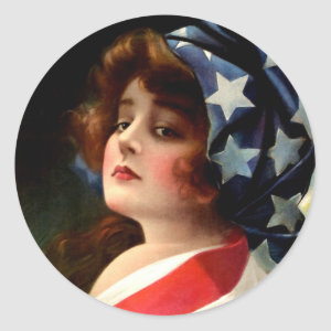 Flag Lady 4th of July Vintage Patriotic Art Classic Round Sticker