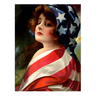 Flag Lady 4th Of July Vintage Patriotic Art Postcard at Zazzle