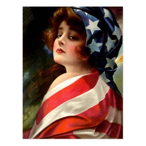 Flag Lady 4th of July Vintage Patriotic Art Post Card