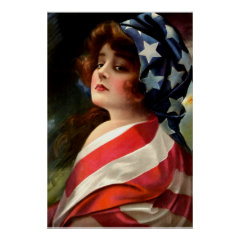 Flag Lady 4th of July Vintage Patriotic Art Poster