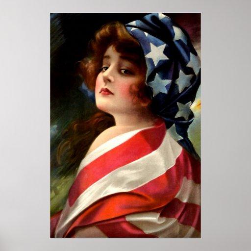 Flag Lady 4th of July Vintage Patriotic Art Poster