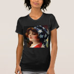 Flag Lady 4th of July Vintage Patriotic Art T Shirt