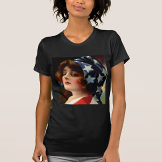 Flag Lady 4th of July Vintage Patriotic Art T-Shirt