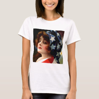 Flag Lady 4th of July Vintage Patriotic Art T-Shirt