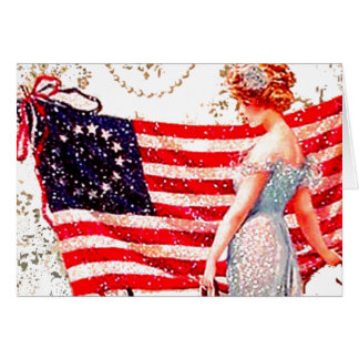 Flag Lady Gibson Girl Patriotic 4th of July USA Greeting Card
