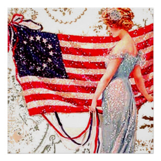 Flag Lady July 4th Patriotic Vintage Postcard Art Poster