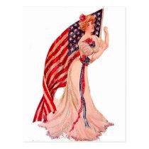 Flag Lady July 4th Vintage Patriotic Postcard Art