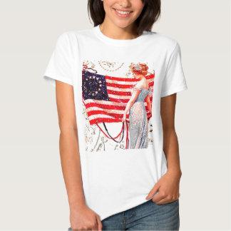 Flag Lady July 4th Vintage Patriotic Postcard Art T-Shirt
