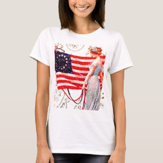 Flag Lady July 4th Vintage Patriotic Postcard Art T-Shirt