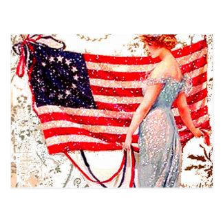 Flag Lady July 4th Vintage Postcard Art