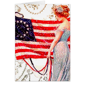 Flag Lady July 4th Vintage Postcard Art