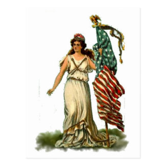 Flag Lady July 4th Vintage Postcard Art Postcard