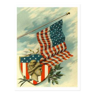Flag & Lady Liberty Postcard