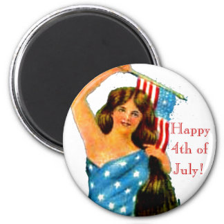 Flag Lady Pin Up Girl Vintage July 4th Patriotic 2 Inch Round Magnet