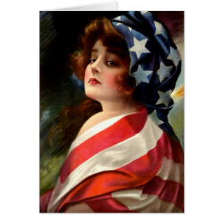 Flag Lady Vintage Art 4th of July Blank Inside Card