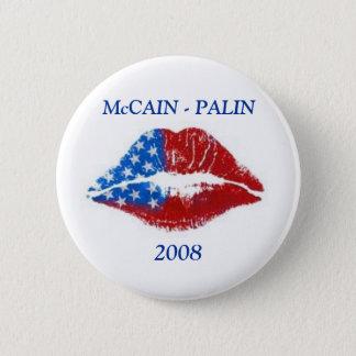Flag Lipstick Kiss, McCAIN - PALIN, 2008 Pinback Button