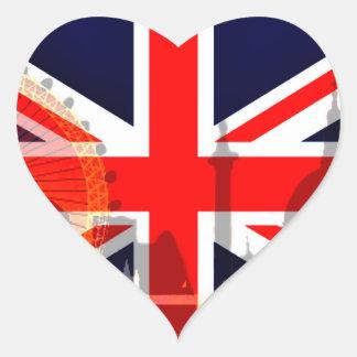 Flag_ Londres-Británico Pegatina En Forma De Corazón