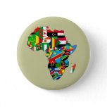 Flag Map of Africa Flags - African Culture Gift Button
