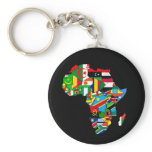 Flag Map of Africa Flags - African Culture Gift Keychain
