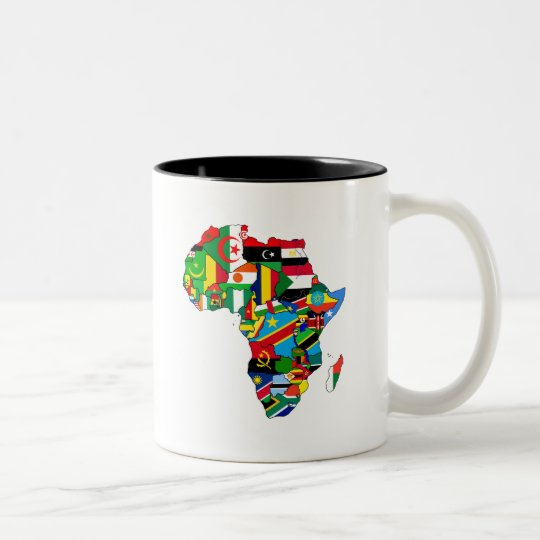 Flag Map of Africa Flags - African Culture Gift Two-Tone Coffee Mug