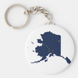 Flag Map Of Alaska Keychain