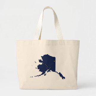 Flag Map Of Alaska Large Tote Bag