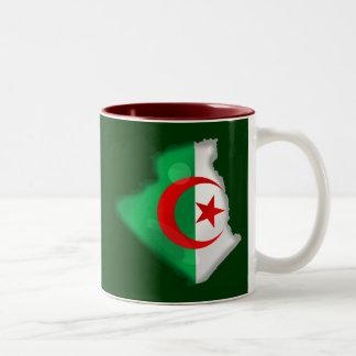 Flag Map of Algeria for Algerians worldwide Two-Tone Coffee Mug