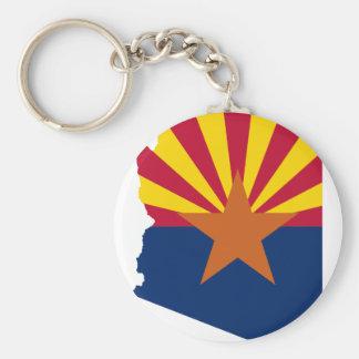 Flag Map Of Arizona Keychain