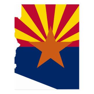 Flag Map Of Arizona Postcard