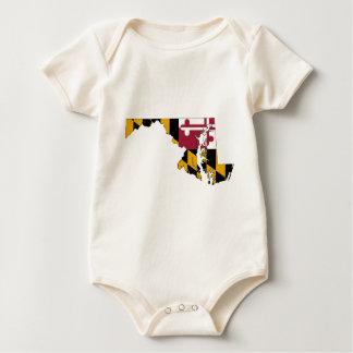 Flag Map Of Maryland Baby Bodysuit