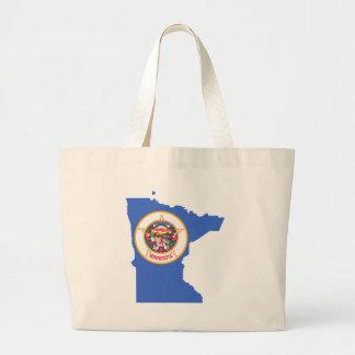 Flag Map Of Minnesota Large Tote Bag